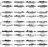 Skylines de cidades de Canadá, de México, de China, de Japão e de Austrália Foto de Stock