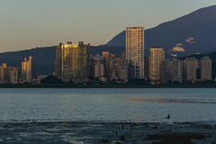 Skylines. In the dusk - Tamsui river, Bali, Taiwan Royalty Free Stock Image