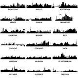 Skylines européias da cidade ilustração do vetor