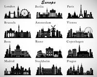Skylines europeias das cidades ajustadas Silhuetas do vetor ilustração royalty free