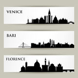 Skylines italianas das cidades - ilustração do vetor Foto de Stock Royalty Free