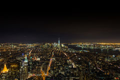 Skylines night scenes in manhattan NYC. Shot in the Empire State Building Stock Photos
