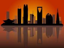 Skylineschattenbild Riads Saudi-Arabien lizenzfreie abbildung