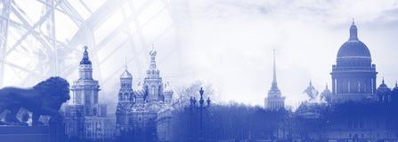 Skylineschattenbild St Petersburg Russland Lizenzfreies Stockfoto