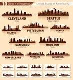 Skylinestadtset. 10 Städte von USA #2 Stockfotos