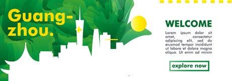 Skylinestadtsteigungs-Vektorfahne Chinas Guangzhou Stockfotos