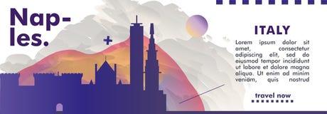 Skylinestadtsteigungs-Vektorfahne Italiens Neapel lizenzfreie abbildung