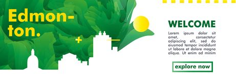 Skylinestadtsteigungs-Vektorfahne Kanadas Edmonton Lizenzfreie Stockfotos