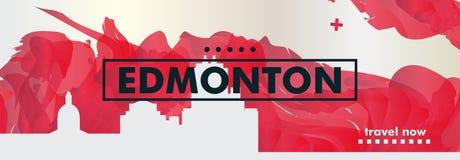 Skylinestadtsteigungs-Vektorfahne Kanadas Edmonton Stockfotografie