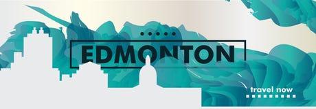 Skylinestadtsteigungs-Vektorfahne Kanadas Edmonton Stockbilder