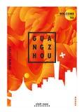 Skylinestadtsteigungs-Vektorplakat Chinas Guangzhou Lizenzfreies Stockfoto