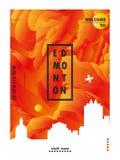 Skylinestadtsteigungs-Vektorplakat Kanadas Edmonton Stockbilder
