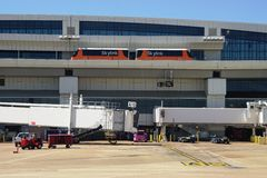 The Skylink monorail at the Dallas Fort Worth airport (DFW) Stock Image