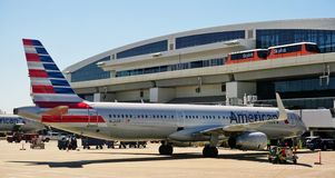 The Skylink monorail at the Dallas Fort Worth airport (DFW) Royalty Free Stock Photography