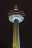 Skylon Tower - Niagara Falls, Canada. The Skylon Tower at Niagara Falls, Canada. It is an observation tower that overlooks both the American Falls, New York, and Stock Photo