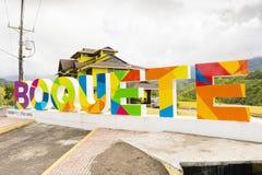 Skylt av boquetelandskapet av Chiriqui Panama Royaltyfri Foto