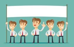 Skylt för mellanrum för visning för affärsman som isoleras på bakgrund stock illustrationer