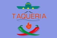 Skylt för mexikansk `-taqueria`, Royaltyfria Bilder