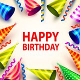 Skylt för räkning för hatt för parti för lycklig födelsedag royaltyfri illustrationer