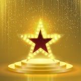 Skylt för vektor för lampor för stjärnapodiumlightbulb stock illustrationer