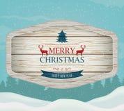 Skylt med jul som hälsar mot ett vinterlandskap fyll på underkanten kan jul som lyckliga glada nya egeer för textwishes för bild  royaltyfri illustrationer