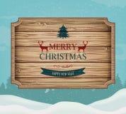 Skylt med jul som hälsar mot ett vinterlandskap fyll på underkanten kan jul som lyckliga glada nya egeer för textwishes för bild  stock illustrationer