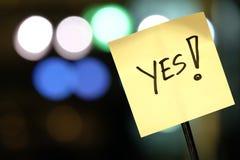 Skylt med ordet ja! Royaltyfri Fotografi