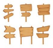 Skylt med wood textur Vektoruppsättning av träpilar och tomt vägriktningstecken royaltyfri illustrationer