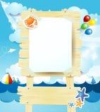 Skylt på seascape royaltyfri illustrationer