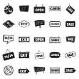 Skyltar med symboler för textdesignbeståndsdelar ställde in i konturstil Arkivfoton