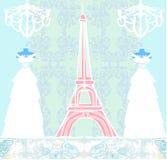 Skyltdocka och Eiffeltorn vektor illustrationer