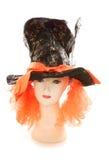 Skyltdocka som bär den tokiga den hattmakaretebjudninghatten och peruken Royaltyfria Bilder