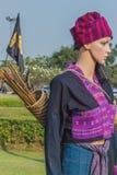 Skyltdockan i thailändsk traditionell dräkt i den Ayutthaya perioden fo royaltyfri bild