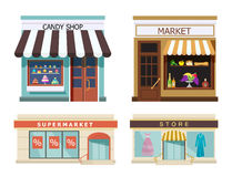 skyltfönster Uppsättningen av olikt färgrikt shoppar marknaden, godis shoppar, supermarket, lager Vektor illustration i plan stil vektor illustrationer