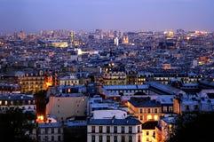 skymning över panoramicsen paris Arkivfoton