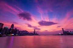 Skymning av Victoria Harbour Royaltyfria Foton