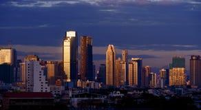 skymning för bangkok affärsområde Royaltyfri Bild