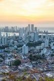 Skymning för solnedgång för skyskrapor för stående format för hav för Cartagena horisontColombia stad royaltyfria bilder
