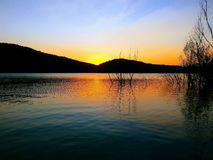skymning HelgonPonç sjö catalonia Royaltyfria Foton