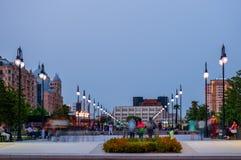 Skymning i Baku royaltyfri fotografi