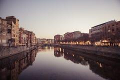 Skymning i Girona Royaltyfria Bilder