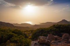 Skymning på Aegina Arkivfoton