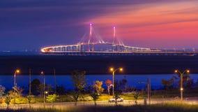 Skymning på den Inchon bron Fotografering för Bildbyråer