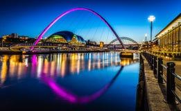 Skymning på den Newcastle kajen Royaltyfria Foton