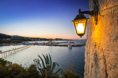 Skymning på den Zakynthos ön royaltyfria bilder