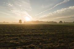Skymning på lantgård Royaltyfri Fotografi