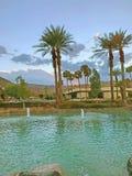 Skymning på Rancho Mirage i Coachellaet Valley royaltyfria bilder