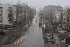 Skymning på utkanten av Moskva Arkivbild