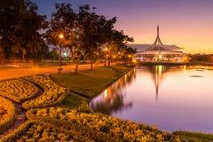Skymning Rama 9 parkerar Thailand Arkivbilder