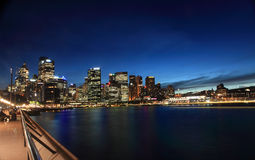 Skymningcityscape Sydney Circular Quay Australia Arkivbild